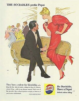 The Sociables have talent for friendship cocktail party blond Pepsi-Cola ad 1960