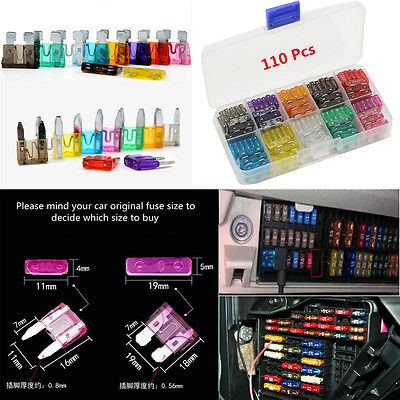 110pc Car Truck FUSES Kit Blade Fuse Assortment 2 3 5 7.5 10 15 20 25 30 35AMP