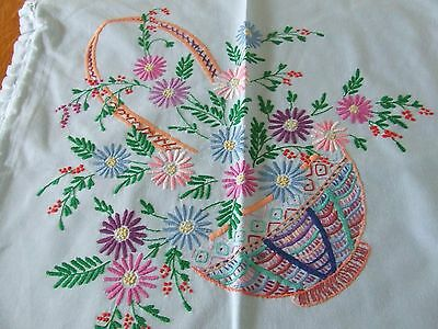 Vintage 1940-50 Blue Hand Embroidered Cushion Cover