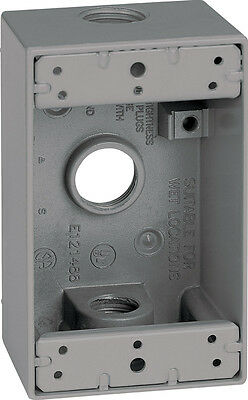 Sigma  4-1/2 in. H Rectangle  1 Gang  Outlet Box  1/2 in. Gray  Aluminum, 14250
