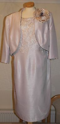 Lovely Jacques Vert Shantung Dress & Bolero Suit With Corsage - Size 18