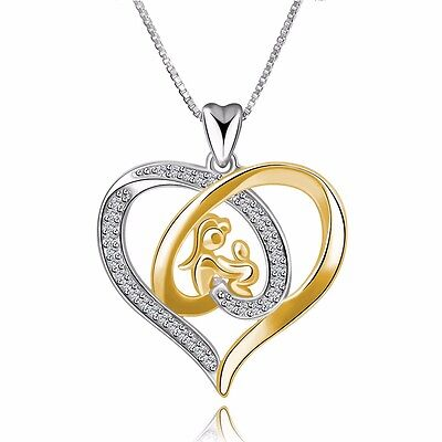 Fashion Women Jewelry Gold Heart Silver Charms Pendant Fit 925 Sterling Necklace