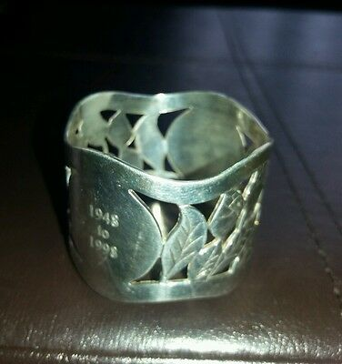 Vintage Silver Plated napkin ring. Patterned and  Engraved 1948-1998