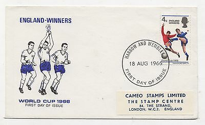 1966 World Cup Winners Illustrated FDC produced by Cameo. Harrow & Wembley FDI.
