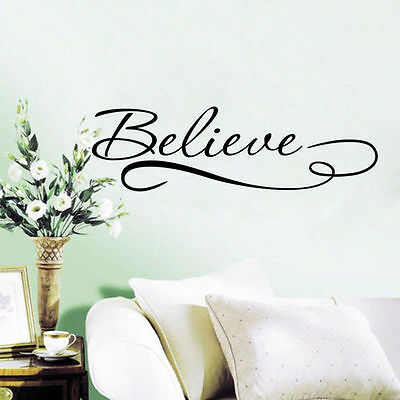 Believe Letter Quote Removable Vinyl Art Mural DIY Home Decor Wall Stickers