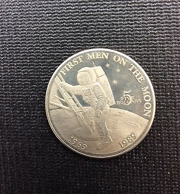 1989 Marshall Islands 20 Th Anniversary First Men On The Moon Five Dollar Coin