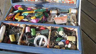 Vintage Sewing Case And Contents