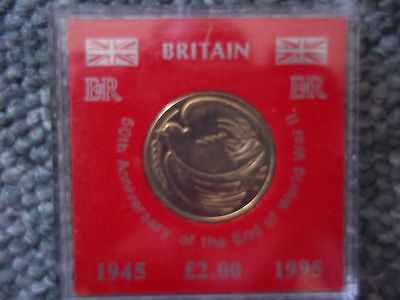 50th ANNIVERSARY OF THE END OF WORLD WAR TWO - £2 COIN IN CASE - UNC - DOVE