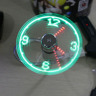 LED Clock Fan Mini USB Powered Cooling Flashing Real Time Display Function Light