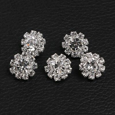 5Pcs Round Rhinestone Shank Button Sewing Craft Embellishment DIY 12mm