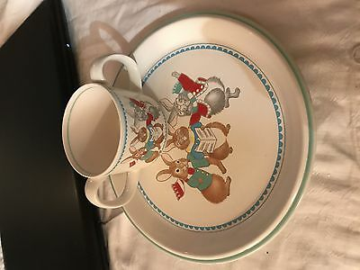 vintage easter Childs plate and cup by Miriska