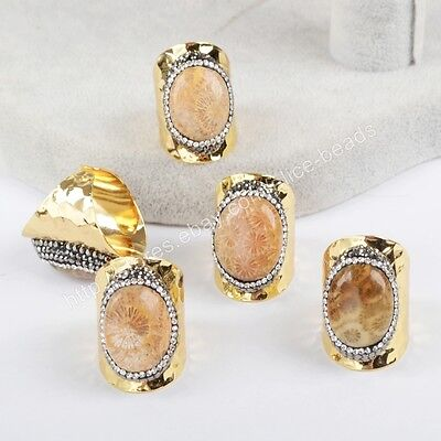 1Pcs CZ Paved Edge Natural Chrysanthemum Coral Fossil Band Open Ring HOT HJA623