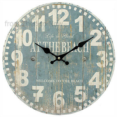 34cm Vintage Life Is Good At The Beach Wooden Nautical Wall Clock Chic Shabby