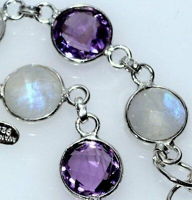 Sterling SILVER Bracelet, Multi Gems Genuine Moonstone and Amethyst 925 Jewelery