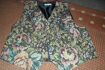 Ladies Waistcoat with Tapestry style Front - Size Large. black back with buckle.