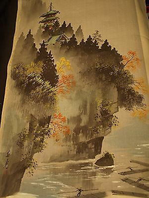 "Vintage Antique Signed Asian Japanese 43"" Silk Cloth Outdoor Scene Art Painting"