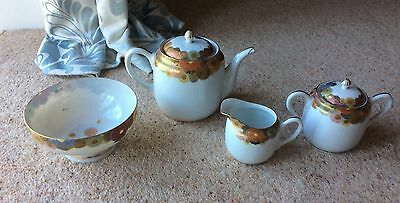 beautiful antique Porcelain Satsuma ? Japanese Meiji millefleur Tea Pot Etc A/f