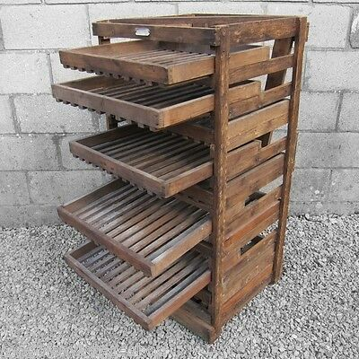 Antique Victorian Wooden Apple Fruit Veg Rack Crate Storage Chest Autumn Harvest