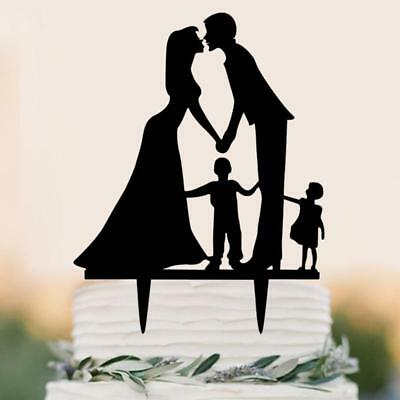 Cake Toppers Home, Furniture & DIY Silhouette Bride/groom/little Girl Wedding Cake Topper-black Acrylic-family #ml