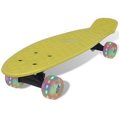 S#Yellow Retro Skateboard with LED Wheels