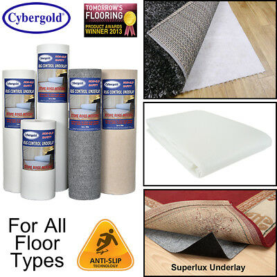 Rugs Carpet Control Underlay Anti Non Slip Grip On All Floor Types *Cut To Size*