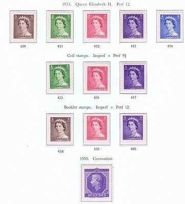 canada stamps elizabeth ii sg450 - 461 1953 definitives / coil stamps