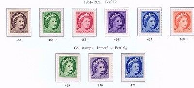 canada stamps elizabeth ii sg463 -471 1954 - 1962  definitives inc coils MNH