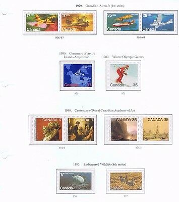 canada stamps elizabeth ii sg966/977 1979 Aircraft, 1980 Artic,Winter,Art  Mint