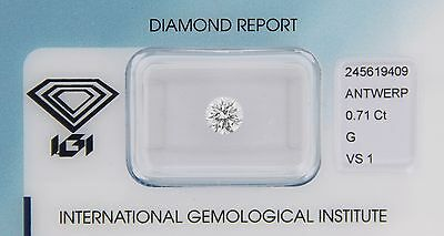 Diamant 0,71ct G VS 1 IGI Zertifikat
