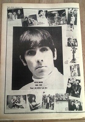The WHO 'Keith Moon tribute' 1978 newsprint POSTER/ Pin Up 16x12 inches