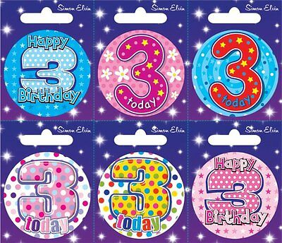 Badge 6 Card Happy Birthday Age 3 Birthday Party Favor