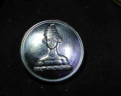MYSTERY LIVERY BUTTON #5 PERSON with STRANGE HAT Silverplate blank back
