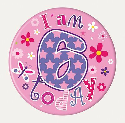 Badge 15cm Happy Birthday Age 6 Girl Birthday Party Favor