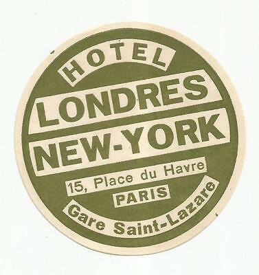 HOTEL LONDRES NEW YORK luggage label (PARIS)