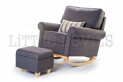 GREY HUSH HUSH Rocking Chair *The Luxury Nursing/Glider/Gliding/Maternity Chair