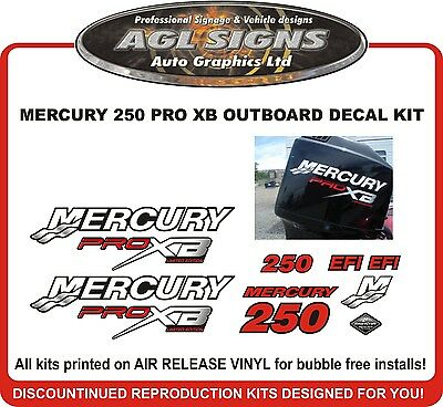 MERCURY Pro XB 250 HP Decal Kit  reproductions  PROXB