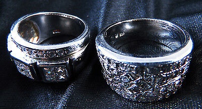 New Sterling 925 Silver With Crystal Women'S Rings
