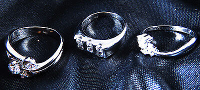 THREE New Old Stock STERLING 925 SILVER WITH CRYSTAL WOMEN'S RINGS