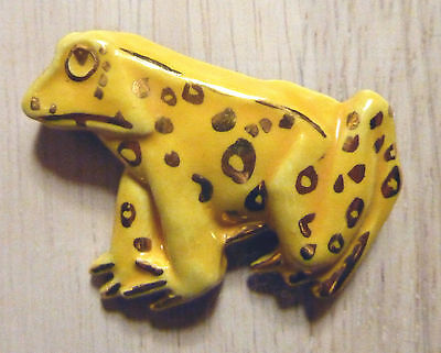 Vintage Frog Ceramic Pin Limited Ed With 14 K Gold Accents