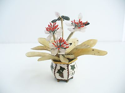 Chinese Cloisonne Miniature Flower Pot With Jade & Quartz Flowers
