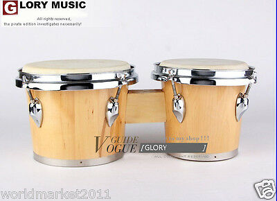 #16 New Wood-Color Birch High Quality Musical Instruments Bongo Drum
