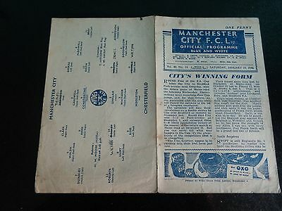 MANCHESTER CITY v CHESTERFIELD  January 19th  1945/46