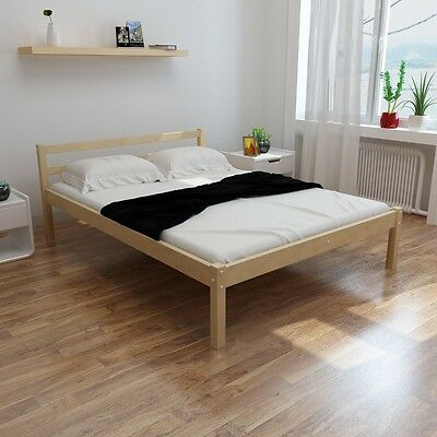 S#Natural Solid Piood Bed 200x140cm Wood Wooden Frame Easy Assembly Sturdy