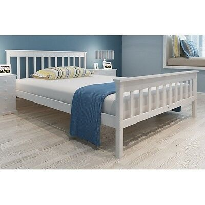S#White Solid Piood Bed 200 x 140 cm Sturdy Wood Wooden Frame Easy Assembly