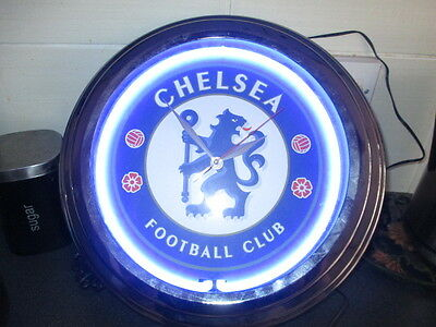 Chelsea Football Club - Large Wall Clock - With Neon Lighting And Battery