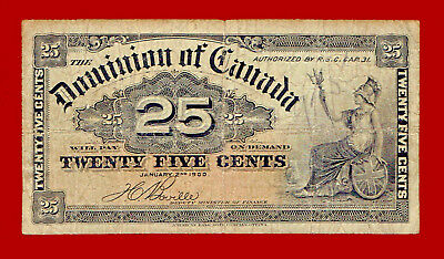 "1900 DOMINION OF CANADA ""FRACTIONAL"" 25c NOTE"
