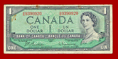 "1954 $1 ""bank Of Canada"" One Dollar Note 0920"