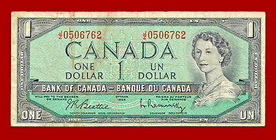 "1954 $1 ""bank Of Canada"" One Dollar Note 6762"