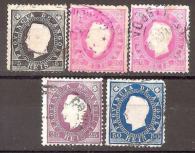 Angola   Sc# 16-18-18a-19-21   used   Cat Val $35