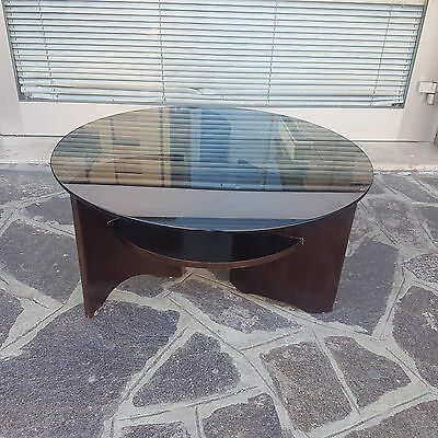 Low Round Table For Living Room 1970 Italian Production Blackened Glass